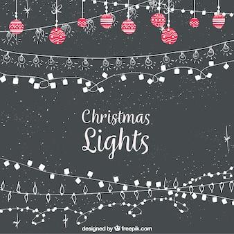 Fondo vintage de luces navideñas