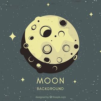 Fondo vintage de luna y estrellas