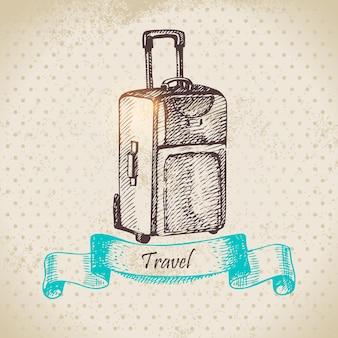 Fondo vintage con maleta de viaje. ilustración dibujada a mano