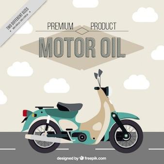 Fondo vintage con moto en la carretera