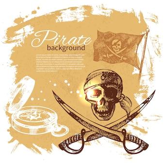 Fondo vintage pirata. diseño náutico del mar. ilustración dibujada a mano
