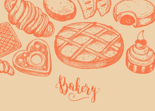 Fondo vintage de productos de panadería casera