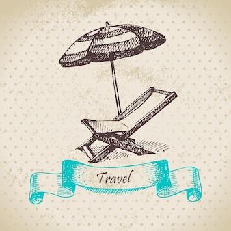 Fondo vintage con sillón de playa y sombrilla. ilustración dibujada a mano