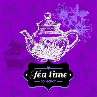Fondo vintage de té. ilustración de boceto dibujado a mano. diseño de menú