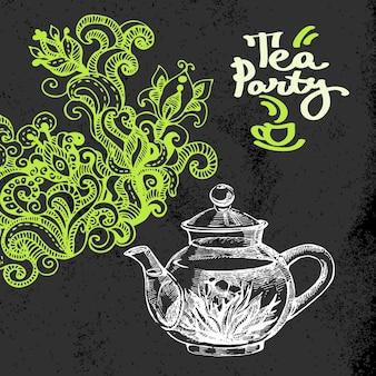 Fondo vintage de té. ilustración de vector de boceto dibujado a mano. diseño de pizarra de menú y paquete. textura de tiza negra. garabatos florales