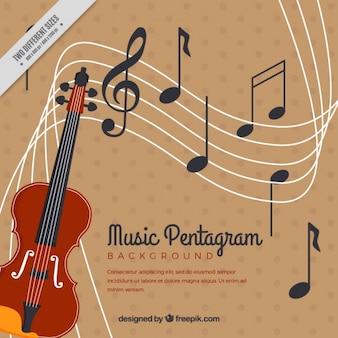 Fondo vintage de violín y pentagrama