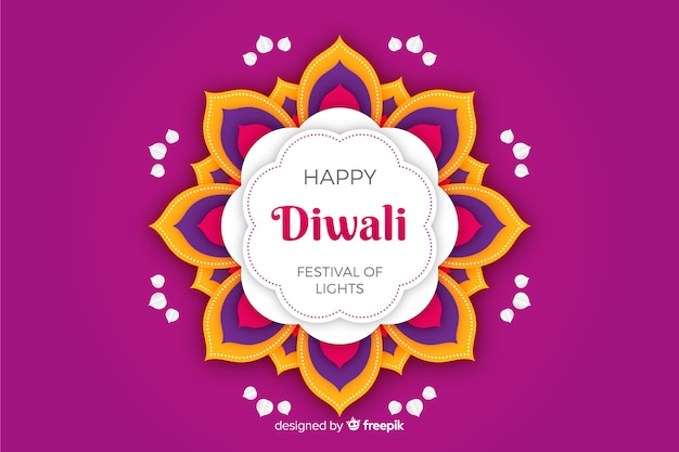 Fondo violeta de diwali en papel estilo
