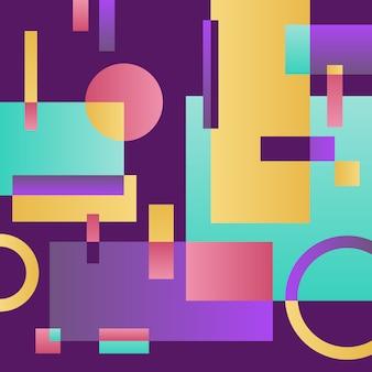 Fondo violeta moderno abstracto con objetos geométricos