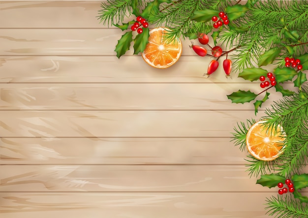 Fondo de vista superior de navidad con ramas de abeto en mesa de madera