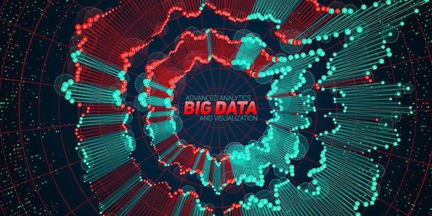 Fondo de visualización circular de big data