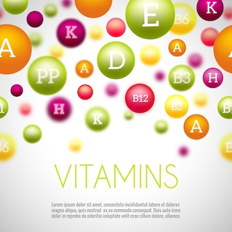 Fondo de vitaminas y minerales. vitaminas minerales, minerales y vitaminas para la salud, vitaminas del grupo médico, minerales naturales de la ciencia. ilustración vectorial