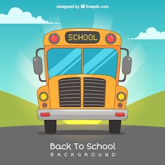 Fondo de vuelta al cole con autobús