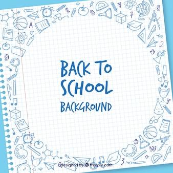 Fondo de vuelta al colegio con hoja y elementos