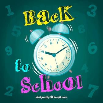 Fondo de vuelta al colegio con reloj despertador