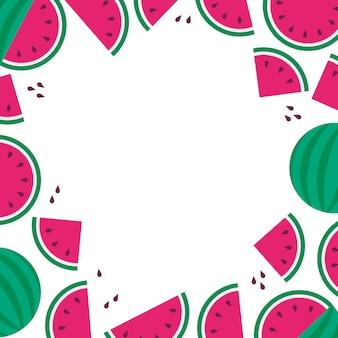Fondo wateramelon frame, venta de verano, fiesta de frutas, estilo plano
