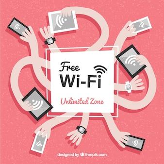 Fondo de wifi abstracto con manos y dispositivos