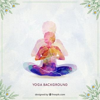 Fondo de yoga de acuarela