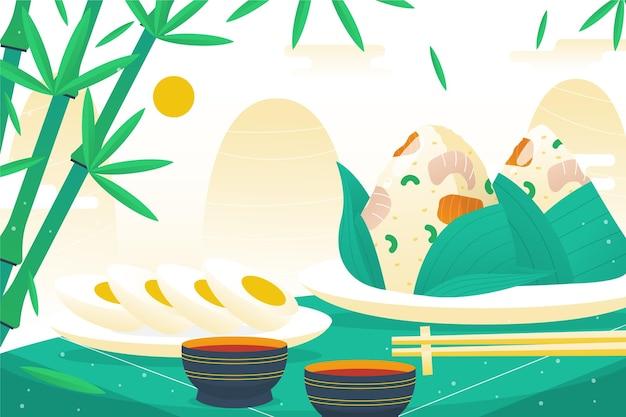 Fondo zongzi de barco dragón dibujado a mano vector gratuito