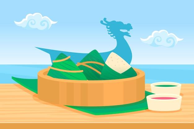 Fondo zongzi de barco de dragón de diseño plano