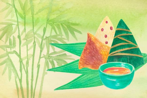 Fondo de zongzi y salsa