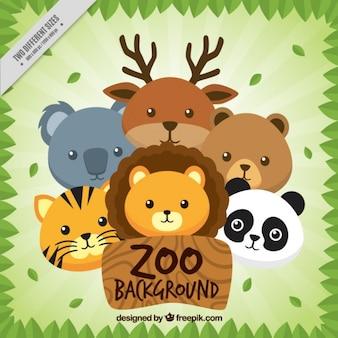 Fondo de zoo de animales simpáticos