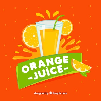 Fondo de zumo de naranja con detalles verdes