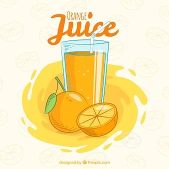 Fondo de zumo de naranja dibujado a mano