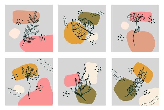 Fondos abstractos con hojas banners de redes sociales con diseño geométrico abstracto