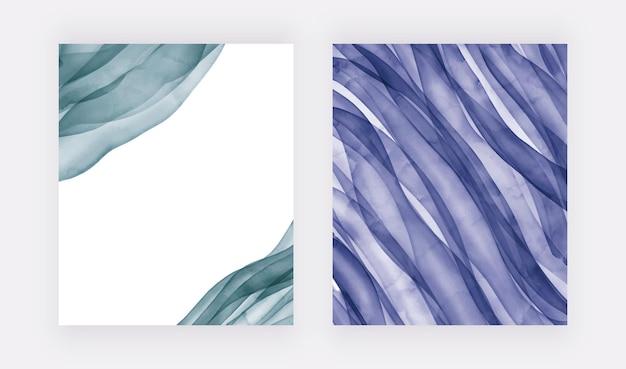 Fondos de acuarela de trazo de pincel azul