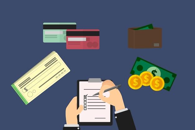 Fondos de ahorro familiar, talonario de cheques, moneda, boleto en billetera y tarjeta de crédito en proyecto de inversión familiar