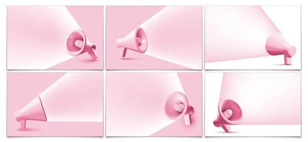 Fondos de banner de megáfono rosa altavoz con marco de haz de sonido
