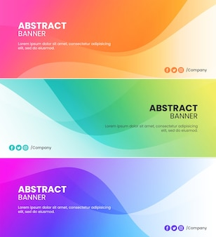 Fondos de banner de ondas abstractas de color naranja, rosa, verde, azul y púrpura