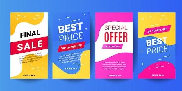 Fondos de banner de venta de historias de moda. plantillas editables decorativas para historias de redes sociales.