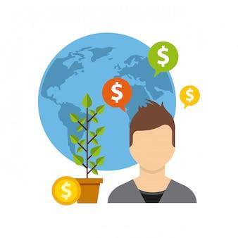 Fondos de crecimiento empresarial iconos planos