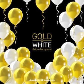Fondos de globos dorados y blancos