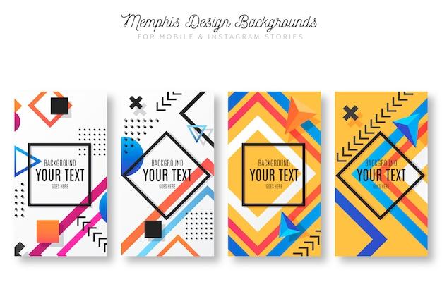 Fondos de diseño de memphis para historias de móvil e instagram