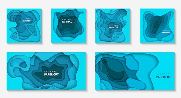 Fondos con formas de corte de papel de color azul profundo
