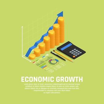 Fondos de inversión que aumentan la composición isométrica del desarrollo del mercado financiero con un diagrama y una calculadora de crecimiento económico
