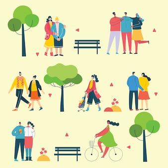 Fondos de naturaleza eco con diferentes personas, pareja haciendo actividades, caminando y descansando al aire libre, en el bosque y parque en el estilo plano