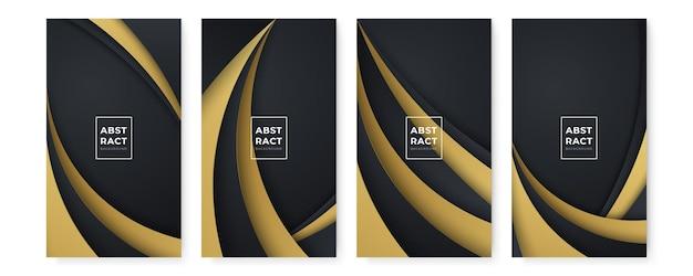 Fondos negros abstractos modernos con líneas doradas