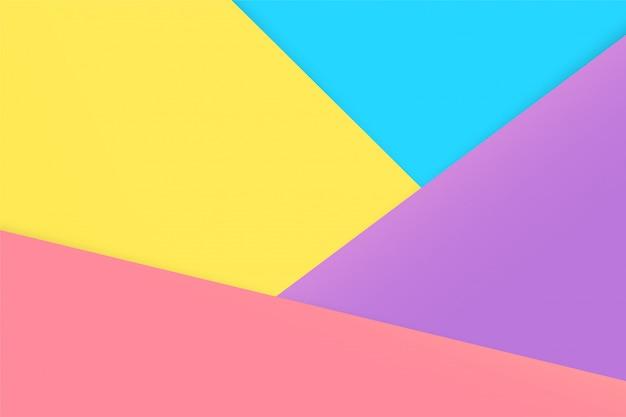 Los fondos de papel en colores pastel se superponen unos sobre otros causando sombras. se ve hermosa y moderna.