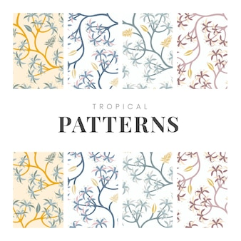 Fondos de patrones sin fisuras de la naturaleza pastel set vector