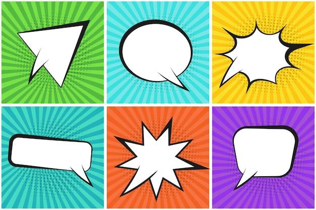 Fondos de rayas de colores con burbujas de discurso