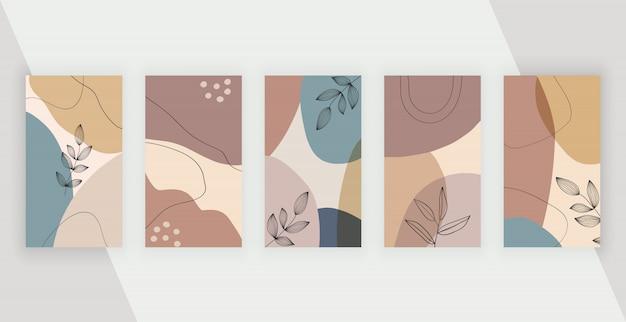 Fondos de redes sociales con formas geométricas de pintura a mano abstracta artística a mano alzada, líneas.