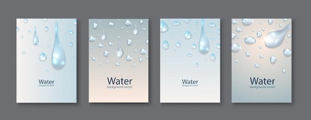 Fondos transparentes de las gotas del agua abstracta.