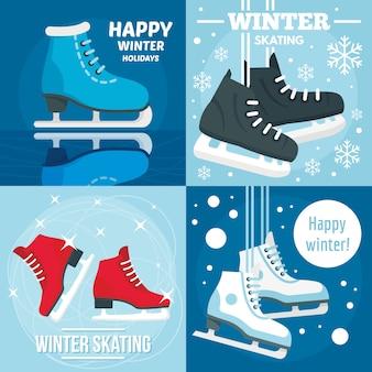 Fondos de vacaciones de invierno patinaje.