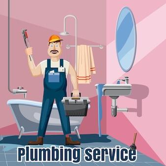 Fontanería arreglo baño lavabo concepto de servicio. ilustración de dibujos animados de servicio de lavabos de baño de fontanería