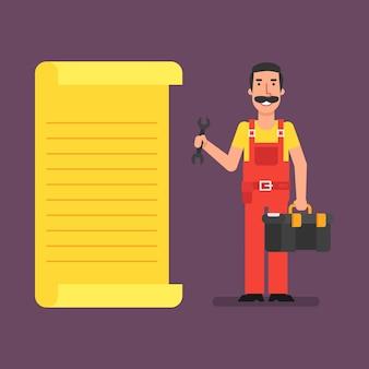 El fontanero se para cerca de la lista y sostiene la maleta de la llave. ilustración de vector.