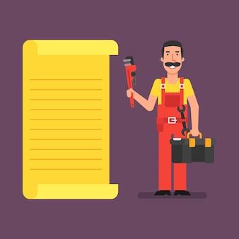 El fontanero se para cerca de la lista y sostiene la maleta de la llave de tubo. ilustración de vector.