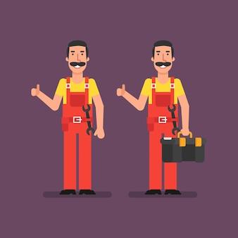 El fontanero muestra los pulgares para arriba sostiene la maleta y sonríe. ilustración de vector.